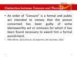 distinction between censure and warning