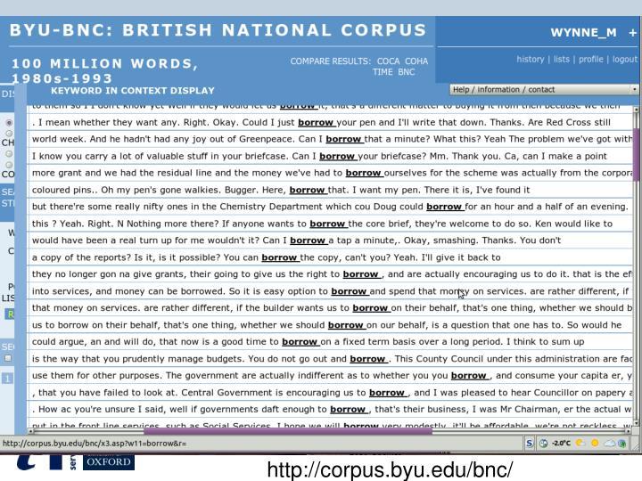 http://corpus.byu.edu/bnc/