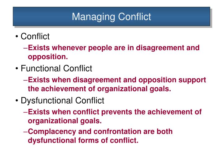 functional and dysfunctional conflict management