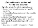 completion rate quotas and face to face activities