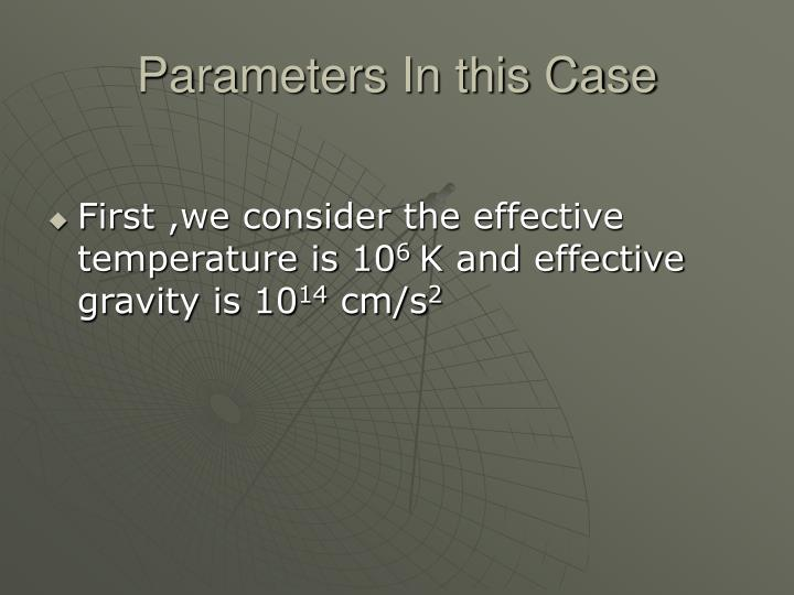 Parameters In this Case