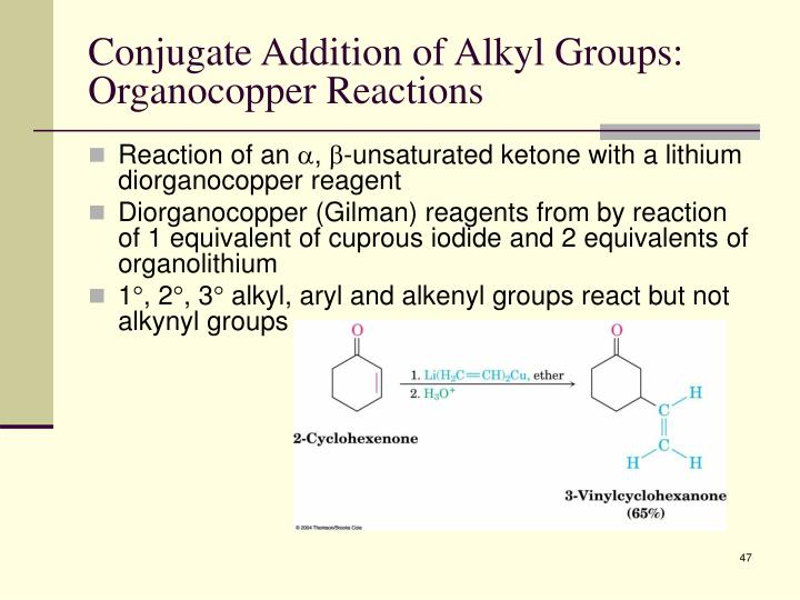 Conjugate Addition of Alkyl Groups: Organocopper Reactions