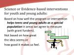 science or evidence based interventions for youth and young adults