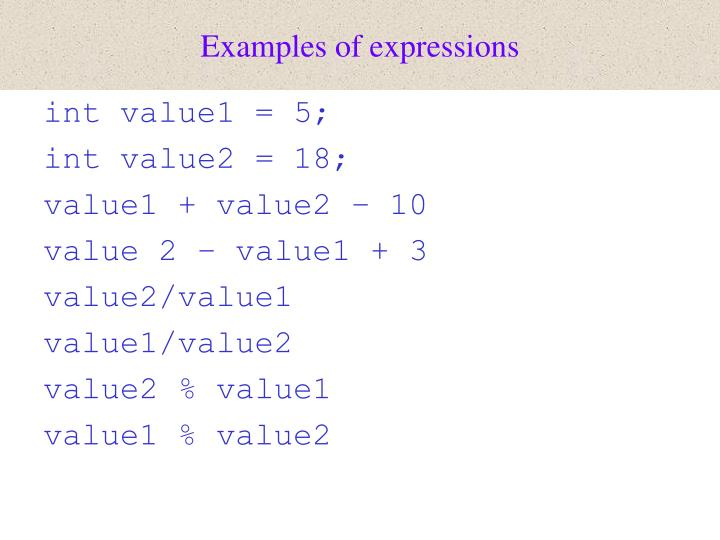 Examples of expressions