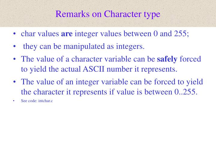 Remarks on character type