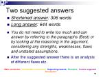 two suggested answers