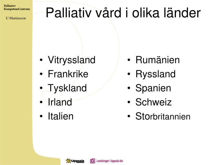 Palliativ vård i olika länder