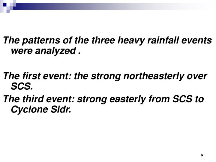 The patterns of the three heavy rainfall events were analyzed .