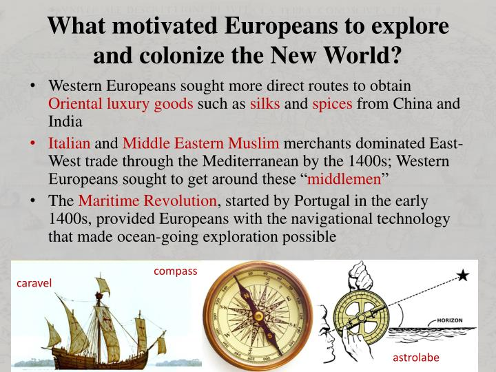 What motivated Europeans to explore and colonize the New World?