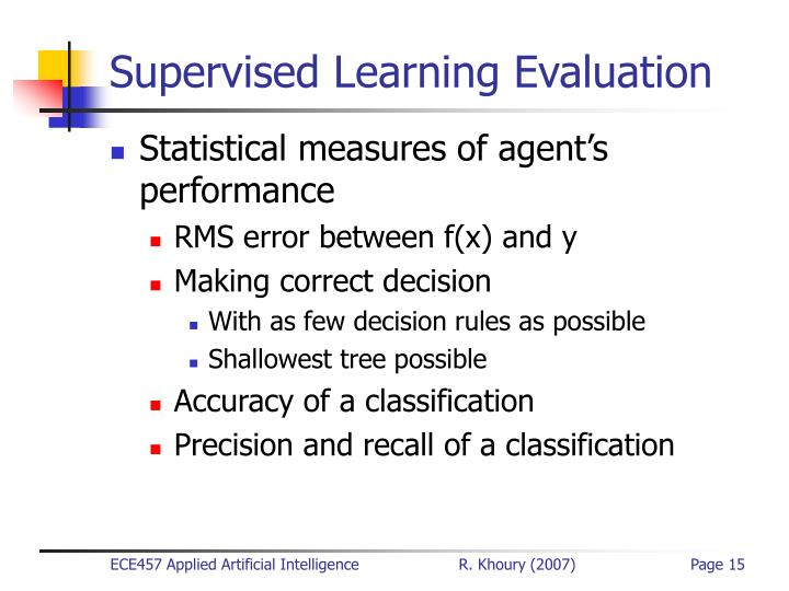 Supervised Learning Evaluation