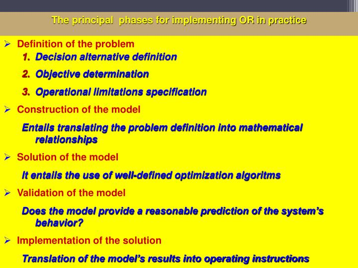 The principal  phases for implementing OR in practice