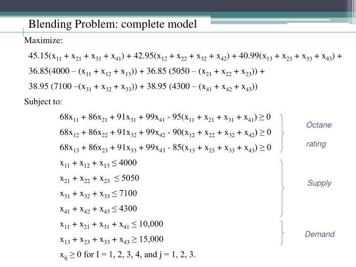 Blending Problem: complete model
