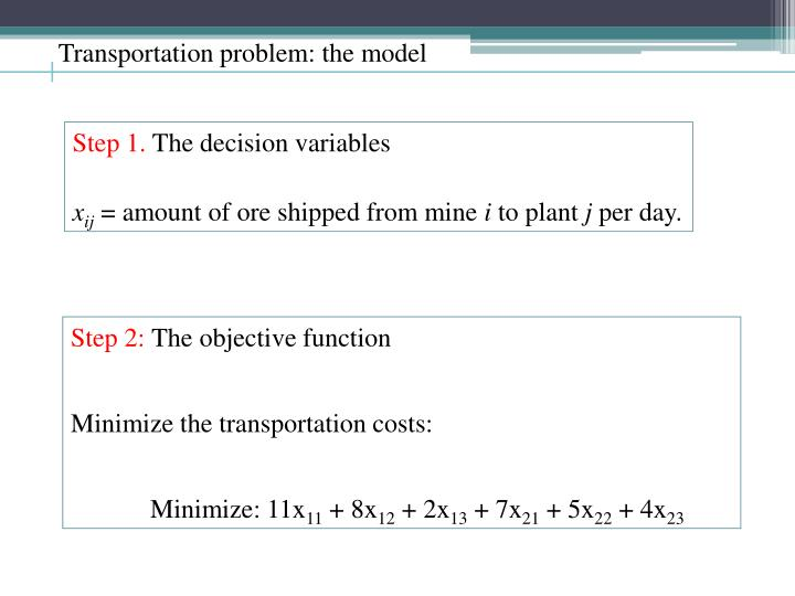 Transportation problem: the model