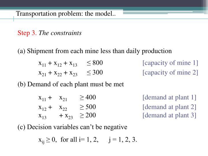Transportation problem: the model..
