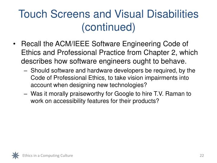 Touch Screens and Visual Disabilities (continued)