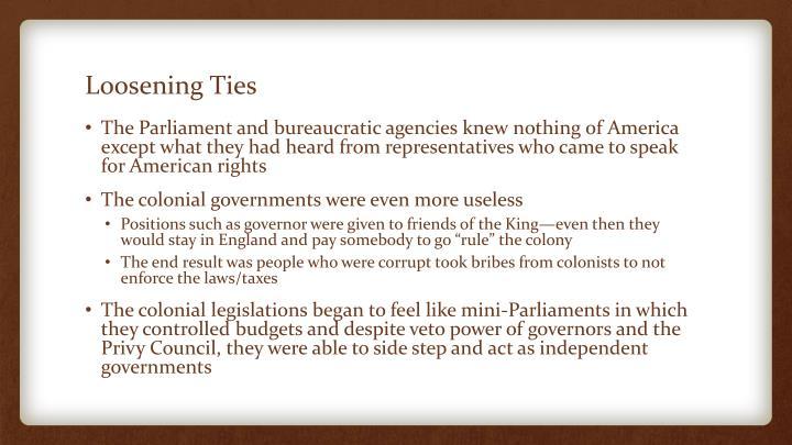 Loosening ties1