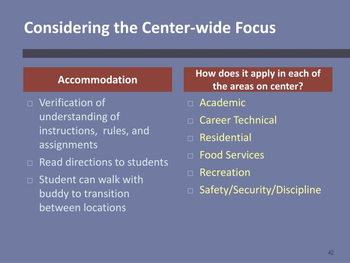 Considering the Center-wide