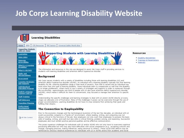 Job Corps Learning Disability Website