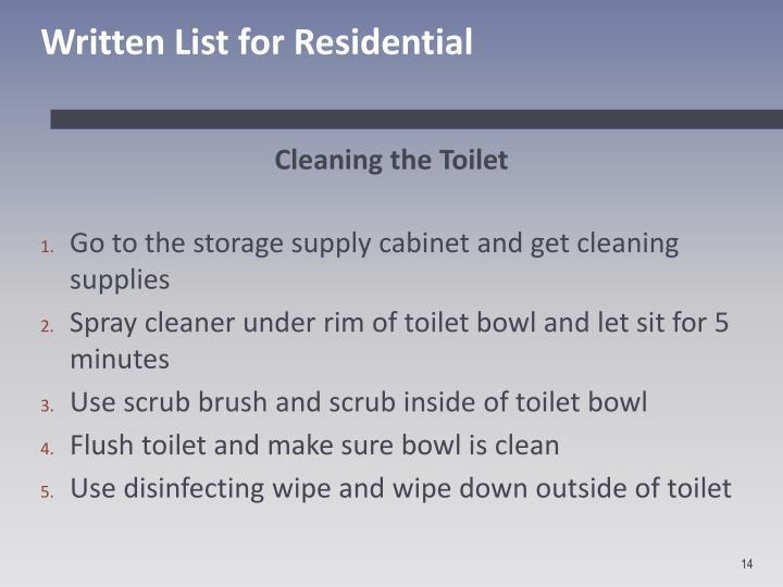 Written List for Residential