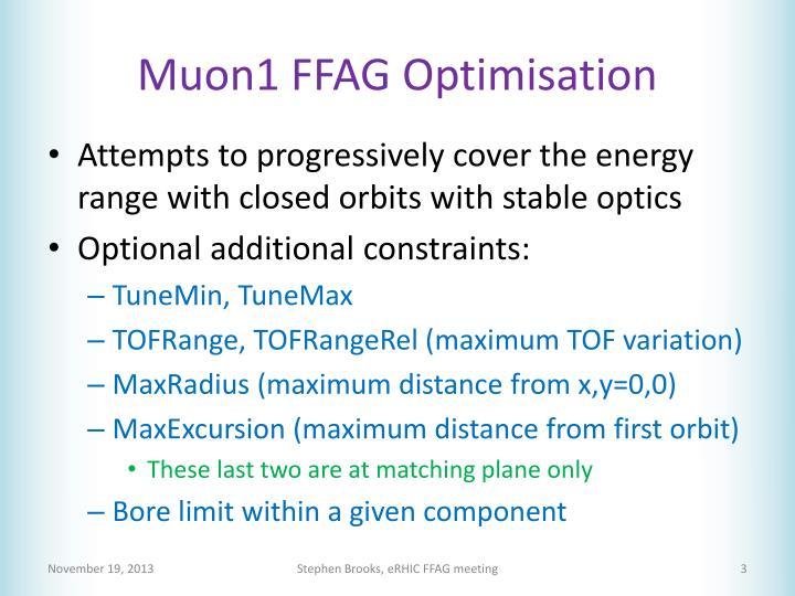 Muon1 ffag optimisation
