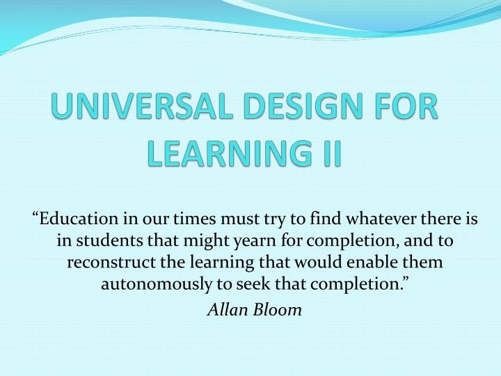 universal design for learning ii n.