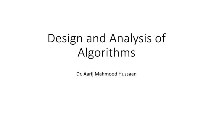 design and analysis of algorithms n.