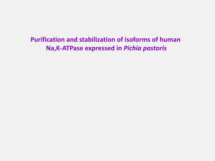 Purification and stabilization of isoforms of human