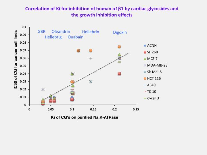 Correlation of Ki for inhibition of human α1β1 by cardiac glycosides and the growth inhibition effects