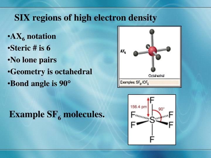 SIX regions of high electron density
