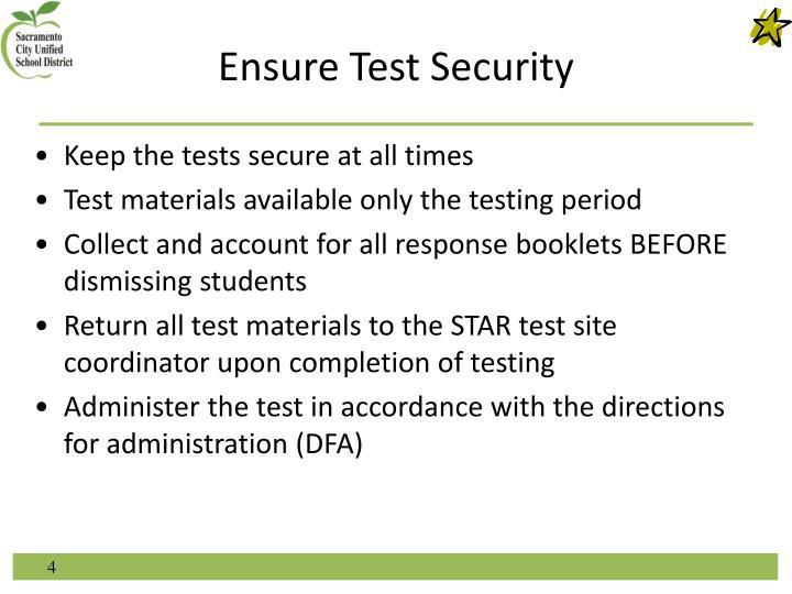Ensure Test Security