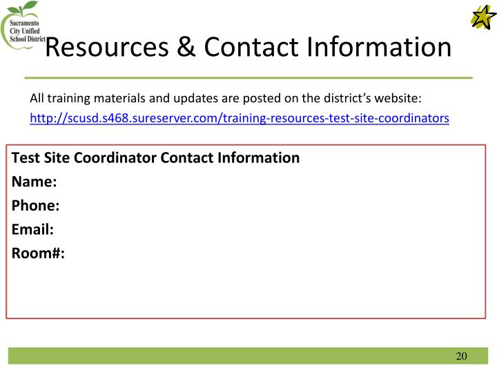 Resources & Contact Information
