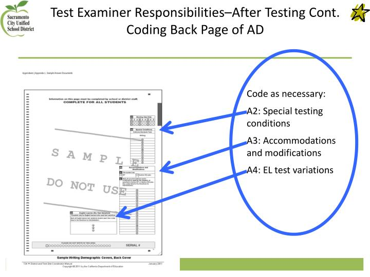 Test Examiner Responsibilities–After Testing Cont.