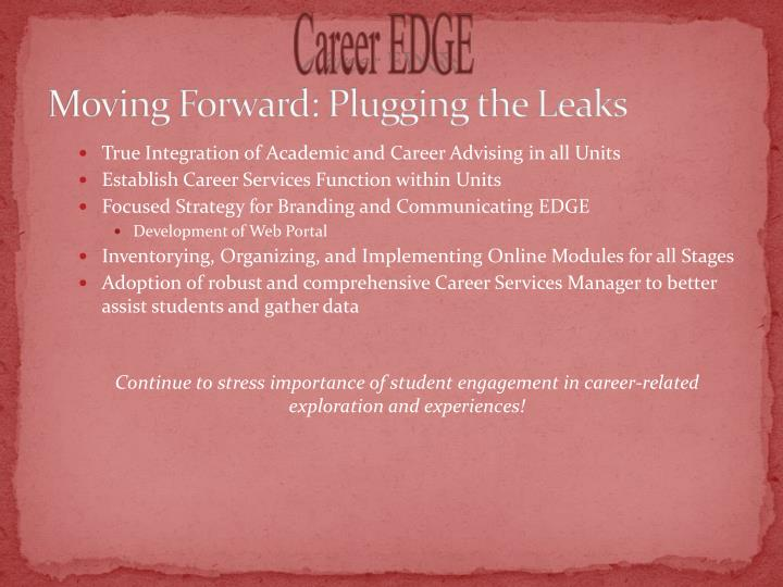 Moving Forward: Plugging the Leaks