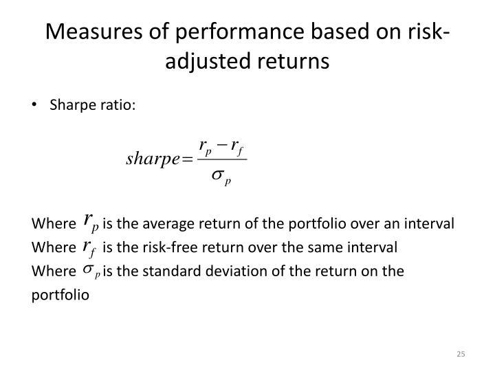 Measures of performance based on risk-adjusted returns