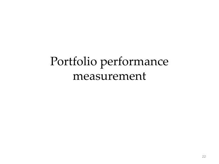 Portfolio performance measurement