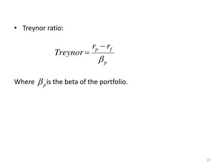 Treynor ratio: