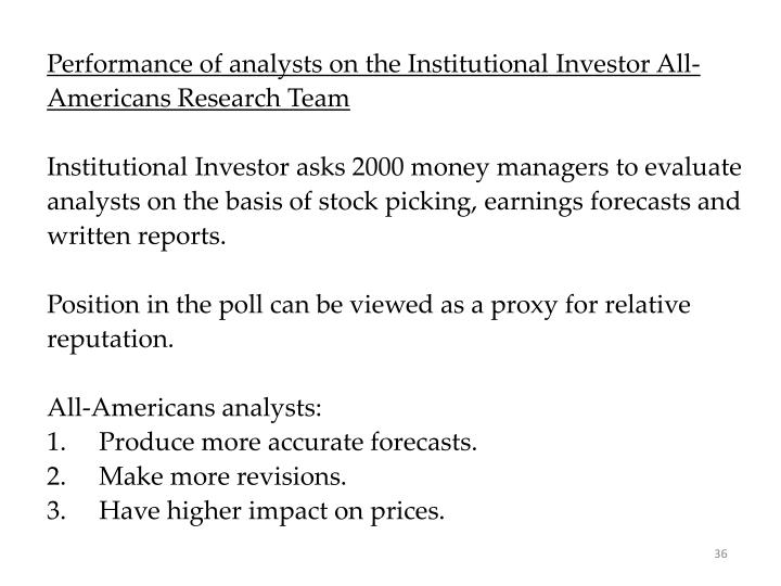 Performance of analysts on the Institutional Investor All-