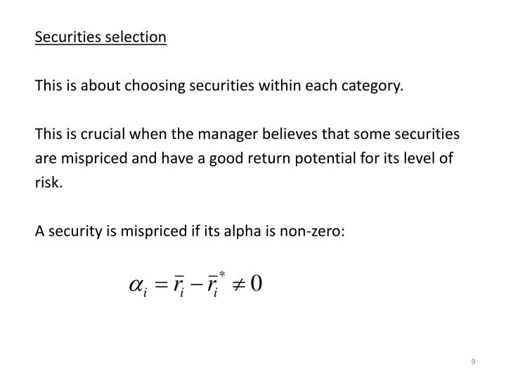 Securities selection