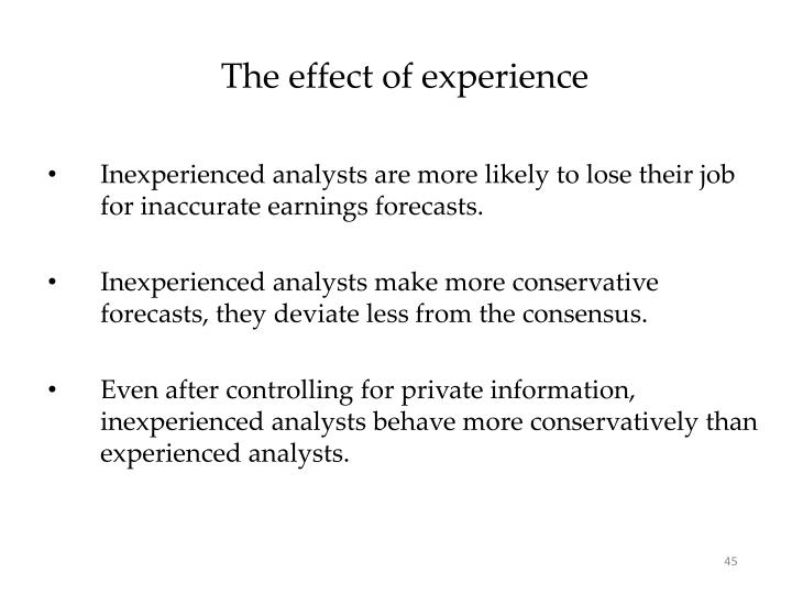 The effect of experience