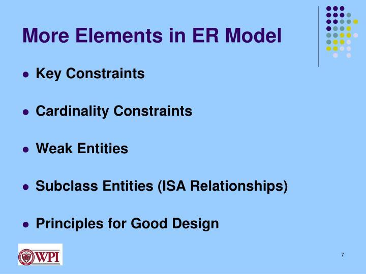 More Elements in ER Model