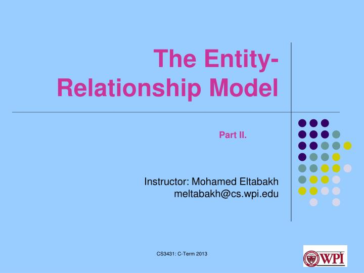 the entity relationship model n.