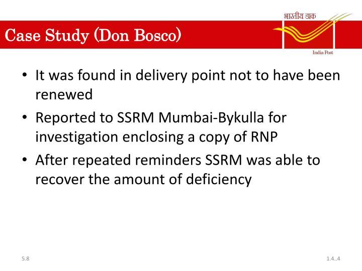 Case Study (Don Bosco)