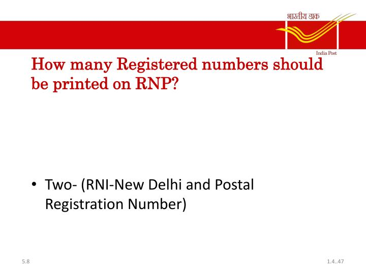 How many Registered numbers should be printed on RNP?