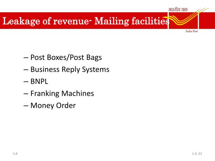 Leakage of revenue- Mailing facilities