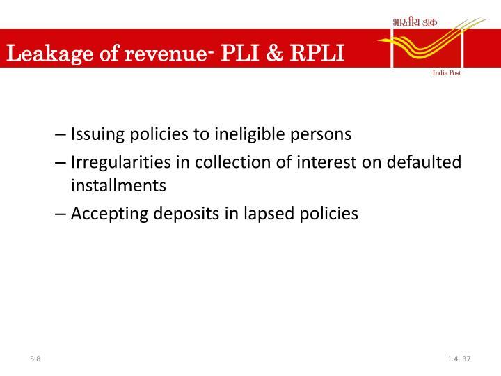 Leakage of revenue- PLI & RPLI