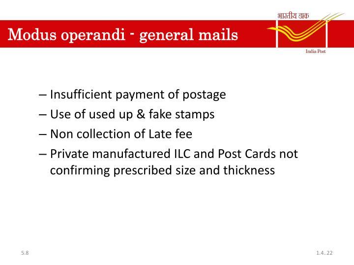 Modus operandi - general mails