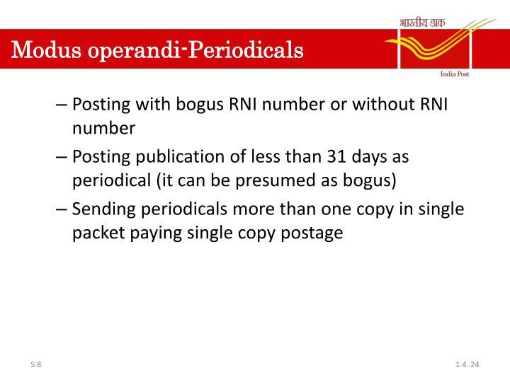 Modus operandi-Periodicals