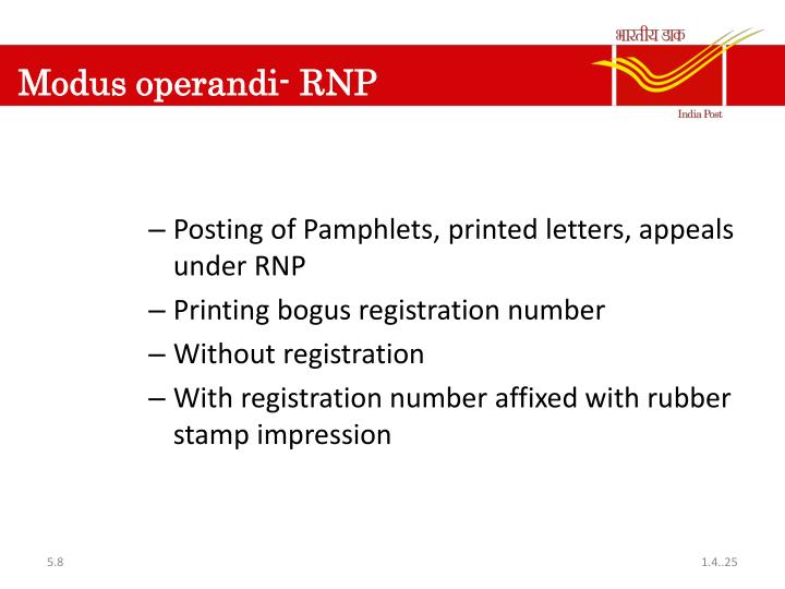 Modus operandi- RNP