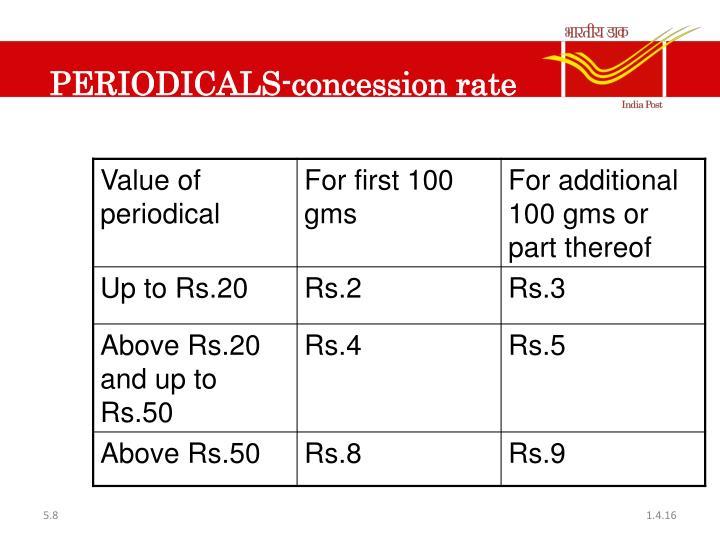 PERIODICALS-concession rate