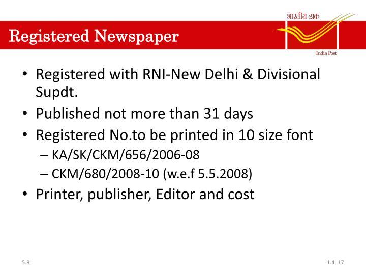Registered Newspaper